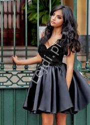 Koronkowa sukienka z organzową spódnicą emo francesca, czarna