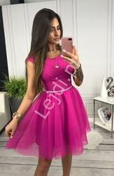 Fuksjowa sukienka z tiulową spódnicą cindy