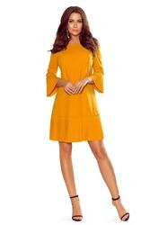 Musztardowa plisowana sukienka z falbankami