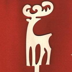 Drewniana dekoracja na patyku - renifer stojący - RES