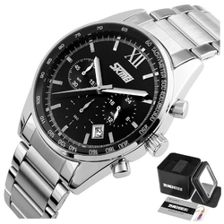 Zegarek męski skmei 9096 chronograf black srebrny - black