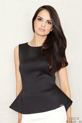 Czarna Elegancka Bluzka bez Rękawów z Wydłużonym Tyłem