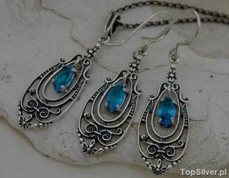 Maella - srebrny komplet z akwamarynem