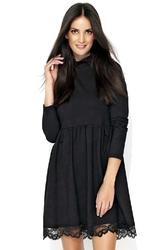Czarna rozkloszowana sukienka dzianinowa z koronką
