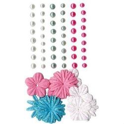 Samoprzylepne perełki+ kwiatki - 69 szt. - mix - MIX