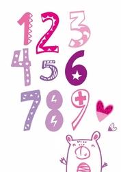 Fioletowe cyfry - plakat wymiar do wyboru: 30x40 cm