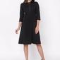 Czarna wizytowa sukienka o linii a z wiązaną kokardką przy dekolcie