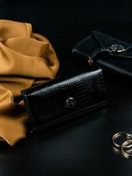 Portfel damski skórzany lakierowany czarny cavaldi - czarny