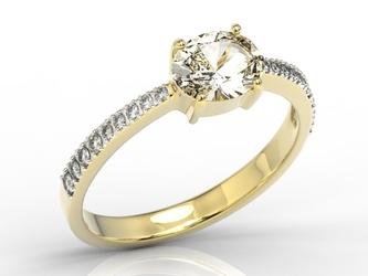 Pierścionek z żółtego złota z białym szafirem i cyrkoniami bp-58z-r-c - żółte z rodowaniem  szafir white