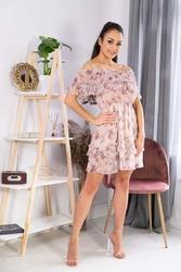 Falbaniasta sukienka w kwiatki z hiszpańskim dekoltem