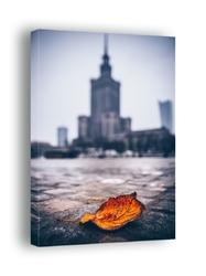 Warszawa pałac kultury i nauki jesienna impresja - obraz na płótnie wymiar do wyboru: 60x80 cm