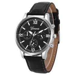Zegarek męski GENEVA pasek skóra ELEGANCKI srebrny - srebrny
