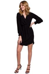 Koktajlowa sukienka mini z kopertowym dekoltem i bufiastymi rękawami czarna k044