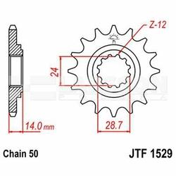 Zębatka przednia JT F1529-17, 17Z, rozmiar 530 2200033 Kawasaki ZRX 1200