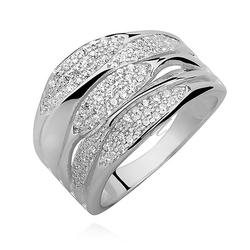 Srebrny pierścionek pr.925 cyrkonia biała, nowoczesny