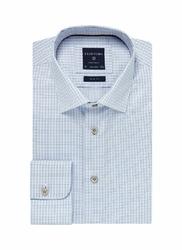 Elegancka błękitna koszula męska Profuomo Originale w drobną krateczkę 40