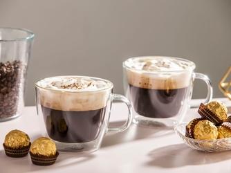 Szklanki z podwójną ścianką i dnem  kubki szklane termiczne do kawy i herbaty altom design andrea, 420 ml komplet 2 szklanek
