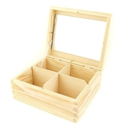 Drewniane pudełko z lusterkiem 18x15,5x8 cm