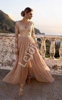Fenomenalna sukienka na wesele, dla druhny w kolorze jasnego karmelu, adel