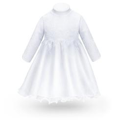 Sukienka na chrzest do chrztu biała tiulowa z kwiatkami