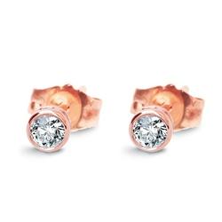 Staviori kolczyki. 2 diamenty, szlif brylantowy, masa 0,10 ct.,różowe złoto 0,585.
