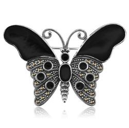 Staviori Broszka Motyl czarny Markazyty. Onyks. Srebro rodowane 0,925. Wymiary 36x50 mm.