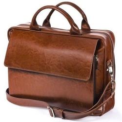 Skórzana torba męska na ramię, torba na laptop solier brązowy vintage - brązowy vintage