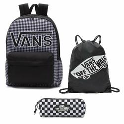 Plecak VANS Realm Flying V Backpack - Houndstooth BlackWhite | VN0A3UI8YER 006 + Worek i Piórnik