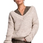 Klasyczny sweter z dekoltem v z przodu i na plecach - beżowy