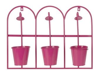Kwietnik ścienny 3 donice-różowy