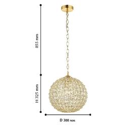 Żyrandol kula złota - kryształowa 30 cm splendor favourite 1946-1p