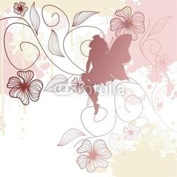 Obraz na płótnie canvas czteroczęściowy tetraptyk delikatny kształt wróżki z kwiatami