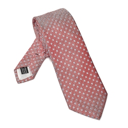 Elegancki DŁUGI czerwony krawat Van Thorn w błękitne kropki