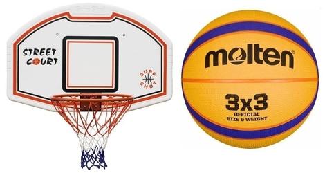 Zestaw kosz tablica do koszykówki 509 bronx z uchwytem + piłka do koszykówki molten 3x3 streetball