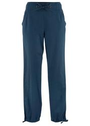 Spodnie lniane z paskiem w prążek bonprix ciemnoniebieski