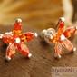 Bixton ii - srebrne kolczyki z pomarańczowym