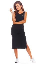 Bawełniana dopasowana czarna sukienka z rozporkami