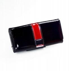 Skórzany portfel damski lakierowany czarny lorenti 76110 - czarny || czarny z czerwonym