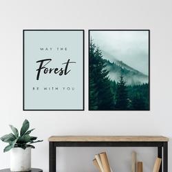 Zestaw dwóch plakatów - may the forest be with you , wymiary - 60cm x 90cm 2 sztuki, kolor ramki - biały