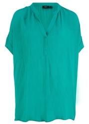 Shirt tunikowy z krepy bonprix szmaragdowy