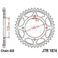 Zębatka tylna stalowa jt r1874-56, 56z, rozmiar 428 2302586 yamaha xvs 125