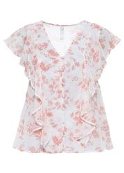 Bluzka z krótkim rękawem i falbanami bonprix biały w kwiaty