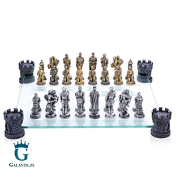 Eleganckie Szachy Rycerze ze szklaną szachownicą MC-6061