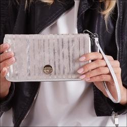 Skórzany portfel damski srebrny forever young 76119 - srebrny