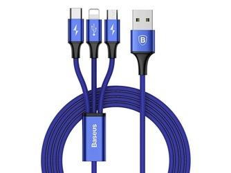 Kabel baseus rapid 3w1 iphone micro usb usb-c 3a niebieski - niebieski