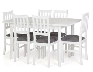 Zestaw do jadalni sico stół 120-150x80 cm 6 krzeseł szarybiały