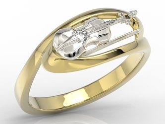 Pierścionek w kształcie skrzypiec z żółtego i białego złota z diamentem bp-1302zb