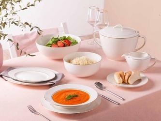Serwis  zestaw obiadowy dla 6 osób porcelana mariapaula nova ecru złota linia 24 elementy