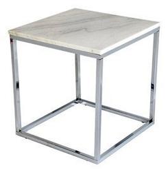 Rge :: stolik kawowy accent chrom  marmurowy blat szer. 50 cm
