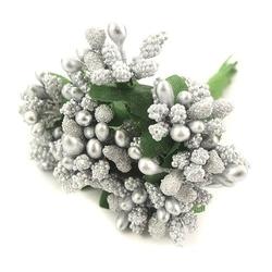 Pręciki do kwiatów ryżyk 12 szt. - srebrny - srebrne